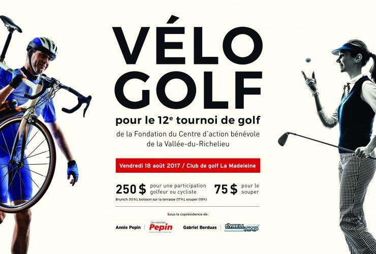 Vélo-Golf – 12e tournoi de golf de la Fondation du CABVR